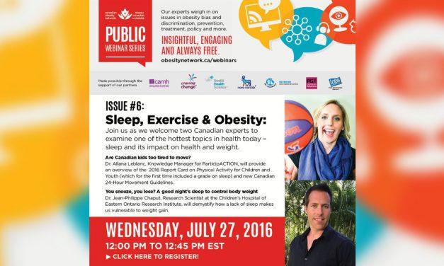 Upcoming Webinar: Sleep, Exercise and Obesity